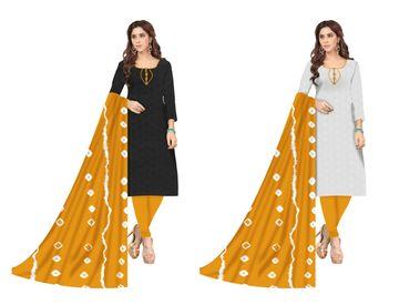 Shri   Shri Women's Chikankari Embroidery Unstitched Dress Materials (Yellow)