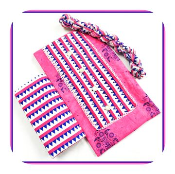 Shri | Shri Women's Pure Cotton Designer Patchwork & Stonework Unstiched Dress Materials (Pink)