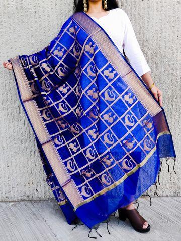 Shri | Shri women's Blue Banarasi Silk Designer Full Length Dupatta