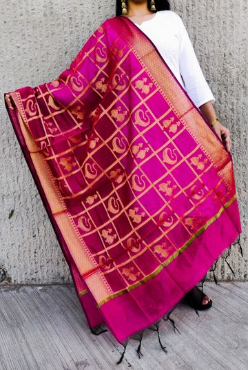 Shri | Shri women's Pink Banarasi Silk Designer Full Length Dupatta