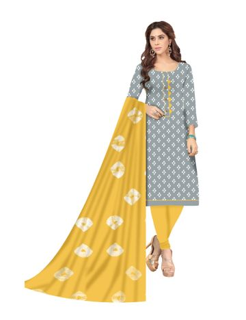 Shri | Shri Women's Pure Soft Cotton Ikkat printed & Patchwork Unstitched Dress Materials (Grey)