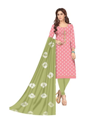 Shri | Shri Women's Pure Soft Cotton Ikkat printed & Patchwork Unstitched Dress Materials (Pink)