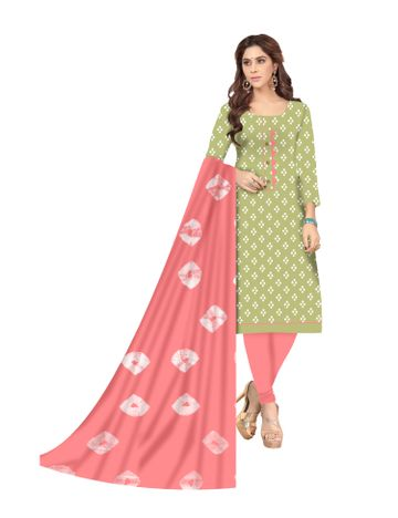 Shri | Shri Women's Pure Soft Cotton Ikkat printed & Patchwork Unstitched Dress Materials (Pista)