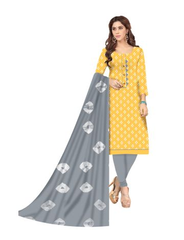 Shri | Shri Women's Pure Soft Cotton Ikkat printed & Patchwork Unstitched Dress Materials (Yellow)