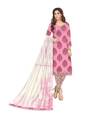 Shri | Shri Women's Pure Cotton Kalamkari Printed Unstitched Dress Materials (Pink)