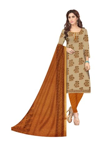 Shri | Shri Women's Pure Cotton Block Printed Designer Unstitched Dress Materials (Biege)