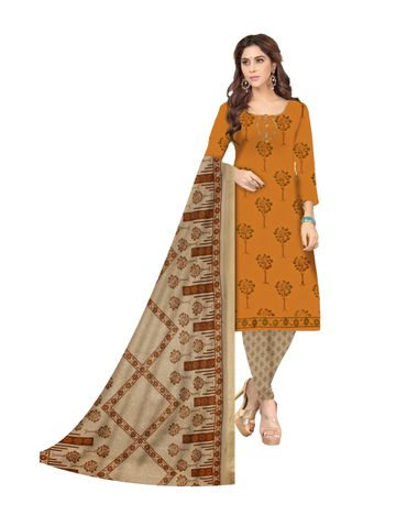 Shri | Shri Women's Pure Cotton Block Printed Designer Unstitched Dress Materials (Brown)
