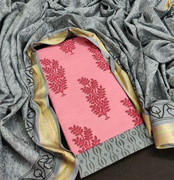 Shri | Shri Women's Pure Cotton Block Printed Designer Unstitched Dress Materials (Grey)
