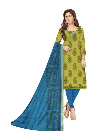 Shri | Shri Women's Pure Cotton Block Printed Designer Unstitched Dress Materials (parrot)