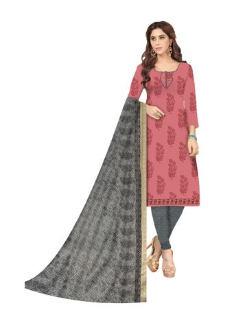 Shri | Shri Women's Pure Cotton Block Printed Designer Unstitched Dress Materials (Pink)