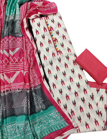 Shri | Shri Women's Pure Cotton Ikkat Printed Unstitched Dress Materials (Pink)
