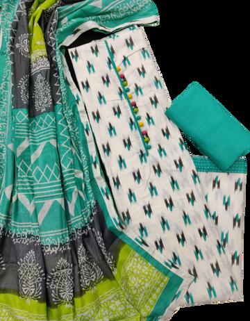 Shri | Shri Women's Pure Cotton Ikkat Printed Unstitched Dress Materials (Rama)