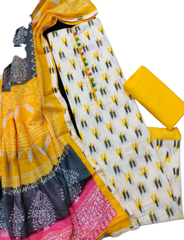 Shri | Shri Women's Pure Cotton Ikkat Printed Unstitched Dress Materials (Yellow)