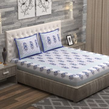 Sita Fabrics | Sita Fabrics Premium Cotton King Size Double Bedsheet with 2 Pillow Cover | 180 Thread Count - (90x108 Inches)