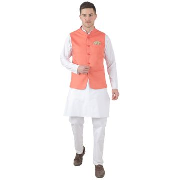 TAHVO | TAHVO men 5 button nehru jacket with hanky kurta set