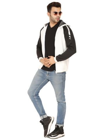 SOC PERFORMANCE |  Classic Black and White Italian Fleece Hoodie Jacket