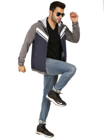 SOC PERFORMANCE | Italian Fleece Navy and Grey Hoodie Jacket with White Contrast