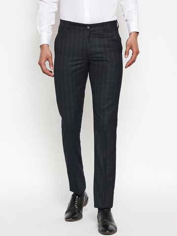 SOLEMIO | Solemio Poly Viscose Ankle Length Checks Formal Trouser For Mens