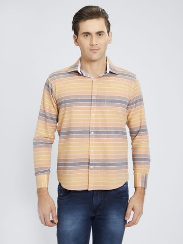 SOLEMIO   Orange Stripes Casual Shirt