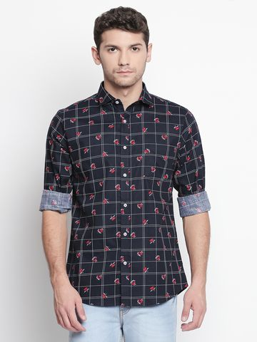 SOLEMIO | Navy Blue Checks Casual Shirt