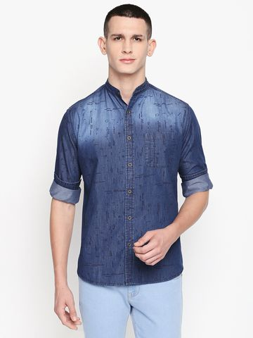 SOLEMIO   Blue Printed Casual Shirt