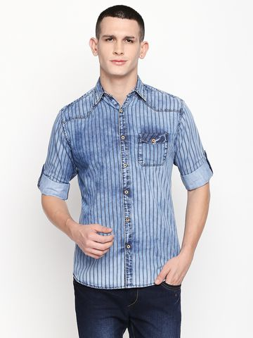 SOLEMIO   Blue Stripes Casual Shirt