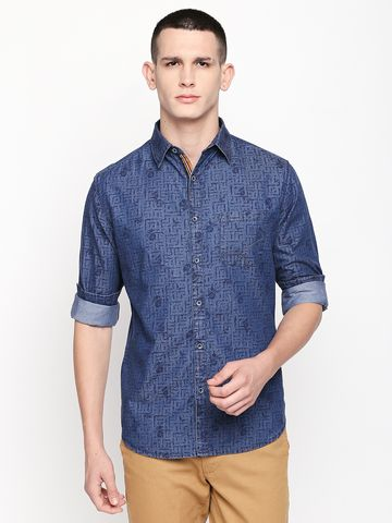SOLEMIO | Blue Printed Casual Shirt