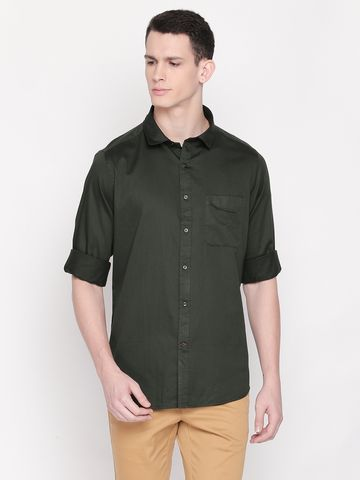 SOLEMIO | Green Solid Casual Shirt
