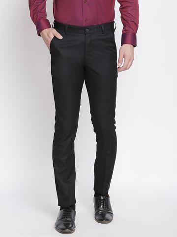 SOLEMIO | Solemio Poly Viscose Blend Black Trouser For Mens