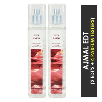 Ajmal | Ajmal Deep Earth EDT  pack of 2 each 250ml (Total 500ML) for Unisex + 4 Parfum Testers