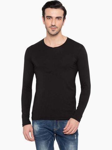 Status Quo | Solid V-Neck Full Sleeves T-Shirt