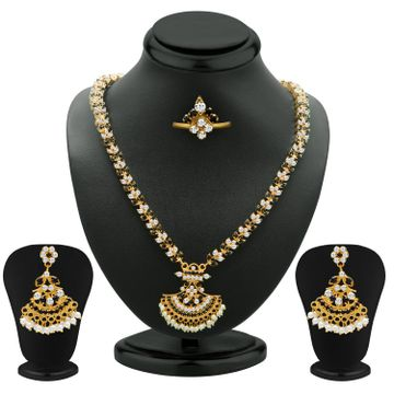 SUKKHI | Sukkhi Marvellous Black And White Colour Stone Studded Necklace Set