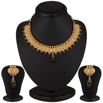 SUKKHI | Sukkhi Royal Gold Plated Multi-coloured Goddess Laxmi Necklace Set