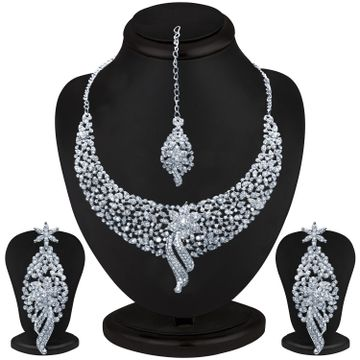 SUKKHI | Sukkhi Glimmery Rhodium Plated Austrian Diamond Choker Necklace Set for Women
