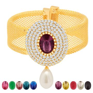 SUKKHI | Sukkhi Exquisite Gold Plated Austrian Diamond + Ten Changeable Stone Kada for Women