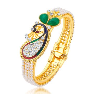SUKKHI | Sukkhi Ethnic Pearl Gold Plated Peacock Meenakari Kada For Women