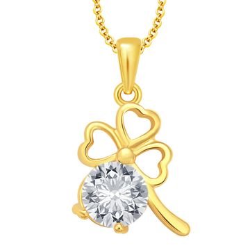 SUKKHI | Sukkhi Excellent Solitaire Three Heart Gold Plated Cz Pendant For Women