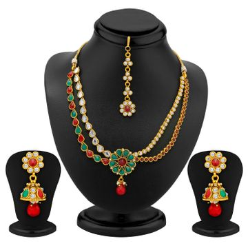 SUKKHI | Sukkhi 2 Strings Gold Plated Ad, Ruby And Emerald Antique Necklace Set