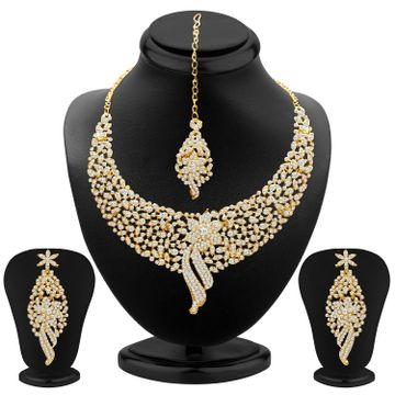 SUKKHI | Sukkhi Splendid Gold Plated Austrian Diamond Choker Necklace Set for Women