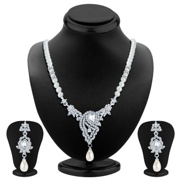 SUKKHI | Sukkhi Fascinating Rhodium Plated Ad Necklace Set