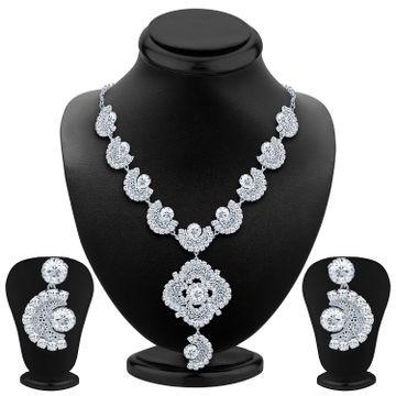 SUKKHI | Sukkhi Bewitching Rhodium Plated Ad Necklace Set