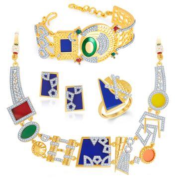 SUKKHI | Sukkhi Neon Colour Gold Plated Cz Geometric Necklace Set