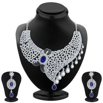 SUKKHI | Sukkhi Lavish Rhodium Plated Austrian Diamond Choker Necklace Set for Women