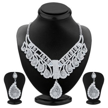 SUKKHI | Sukkhi Sublime Rhodium Plated Ad Necklace Set For Women