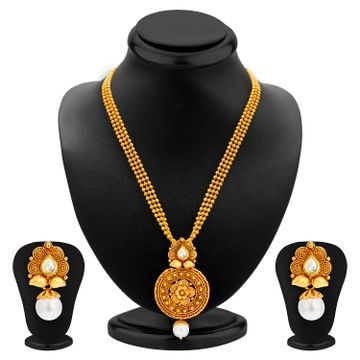 SUKKHI | Sukkhi Graceful Pearl Gold Plated Kundan Necklace Set For Women