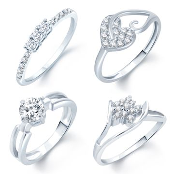 SUKKHI | Sukkhi Incredible Rhodium Plated Set Of 4 Cz Ring Combo for Women