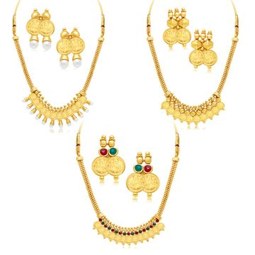 SUKKHI | Sukkhi Traditional Gold Plated Temple Necklace Set Combo For Women