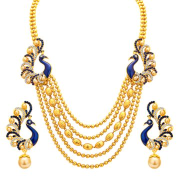 SUKKHI | Sukkhi Graceful Pearl Gold Plated Peacock Meenakari Multi-String Necklace Set for Women