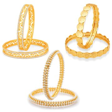 SUKKHI | Sukkhi Angelic Laxmi Temple Coin Gold Plated Ad Set Of 3 Pair Bangle Combo For Women