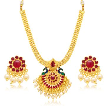 SUKKHI | Sukkhi Resplendent Pearl Gold Plated Peacock Meenakari Necklace Set For Women
